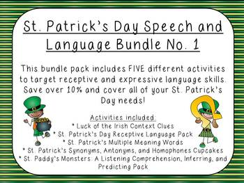 St. Patrick's Day Speech and Language Bundle No. 1