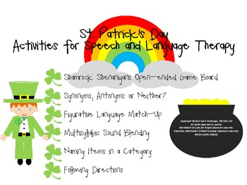 St. Patrick's Day Speech and Language Therapy Activity Pack