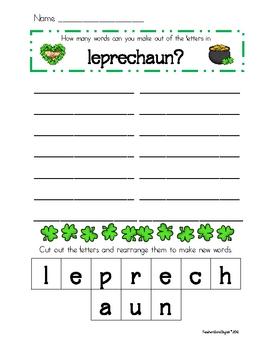 St. Patrick's Day Spelling & Making Words Freebie