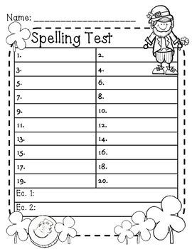 St. Patrick's Day Spelling Test Paper - Freebie!!!