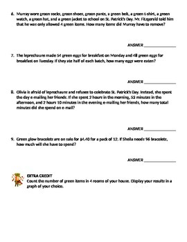 St. Patrick's Day Math Story Problems - Mixed Applications
