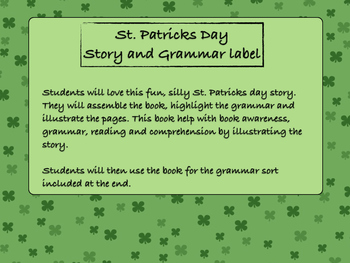 St. Patricks Day Story and Grammar Label Book and sort