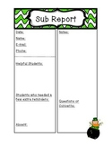 St. Patrick's Day Sub Report Form