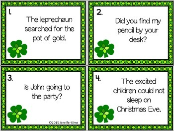 St. Patrick's Day Subject & Verb Task Cards