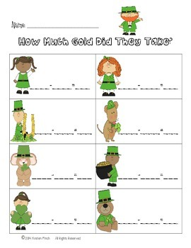 St. Patrick's Day Subtracting 2 Digit Numbers