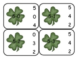 St. Patrick's Day Subtraction Clip Card Math Center