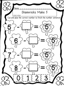 St. Patrick's Day Subtraction Printable Pages