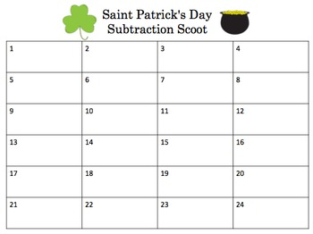 St Patrick's Day Subtraction Scoot for Kindergarten