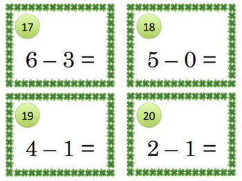 St Patricks Day Subtraction Math Scoot Game