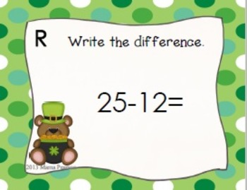 St. Patrick's Day Subtraction Task Cards
