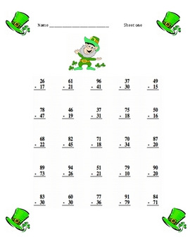 St. Patrick's Day Subtraction sheets with regrouping and key