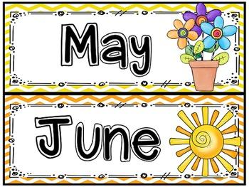Calendar Classroom Decor in Chevron Editable with Bonus Birthday Board