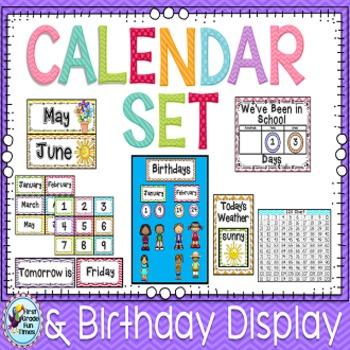 Classroom Decor Calendar in Chevron Classroom Theme Editable with