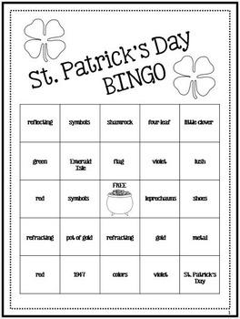 St. Patrick's Day Symbols Activity - BINGO