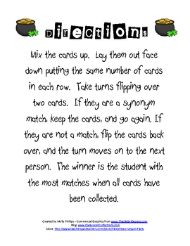 St. Patrick's Day Synonyms Game
