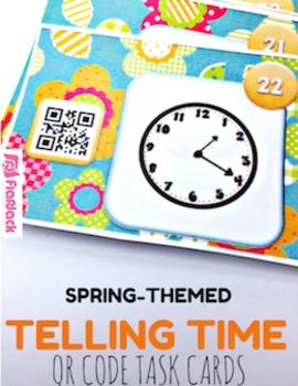 Spring Flowers TIME QR Code Task Card Fun