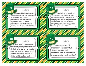 St. Patrick's Day Task Cards-Adverbs, Adjectives, Math, Sequence, & more!