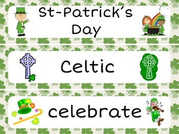 St-Patrick's Day Task Cards (Synonyms, Antonyms & Rhymes) and Vocabulary - MARCH