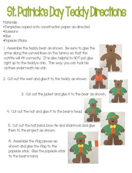 St. Patrick's Day Teddy Bear Dress Up Craft