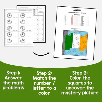St Patricks Day Telling Time To the Hour Coloring Sheets, Mystery Pictures