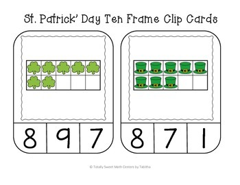 St. Patrick's Day Ten Frame Clip Cards