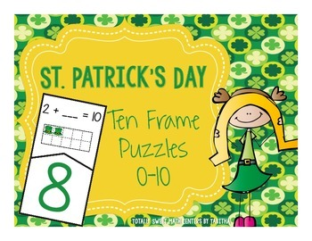 St. Patrick's Day Ten Frame Self-Checking Puzzles