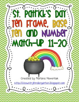 St. Patrick's Day Ten Frame and Base Ten Number Match