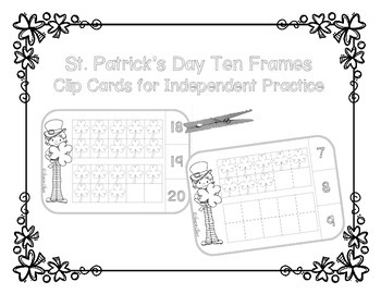 St. Patrick's Day Ten Frames - Counting to Twenty - Line Art