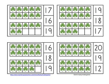 St. Patrick's Day Ten Frames Math Centers (Quantities to 20)