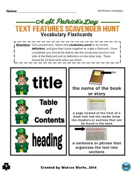 St. Patrick's Day Text Features Scavenger Hunt (3 Activities Included)