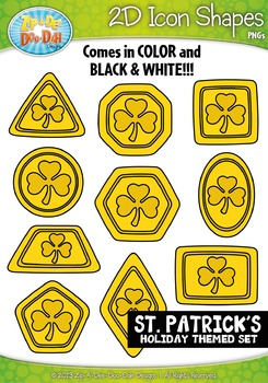St Patricks Day 2D Icon Shapes Clipart {Zip-A-Dee-Doo-Dah Designs}