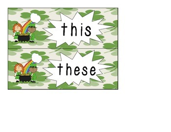 St. Patrick's Day Themed Demonstratives Center: Using This and These
