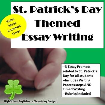 St. Patrick's Day Themed Essay Writing, w Rubrics & Printables