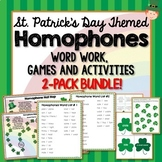 St. Patricks Day Themed Homophones Bundle, Word Work, Games, Activities