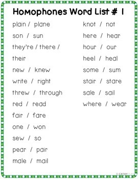 St. Patricks Day Themed Homophones Bundle, Word Work, Games, Activities