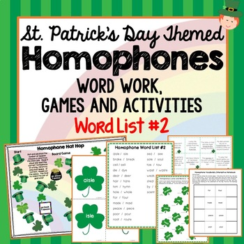 St. Patricks Day Themed Homophones Word List 2, Word Work, Games, Activities