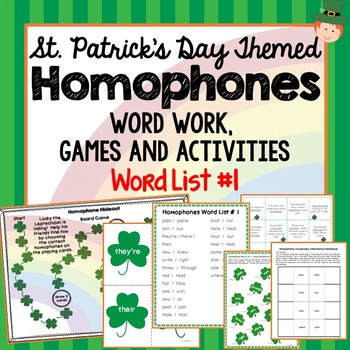 St. Patricks Day Themed Homophones Word List 1, Word Work, Games, Activities