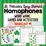 St. Patricks Day Themed Homophones Word List 1, Word Work,