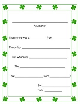 St. Patrick's Day Themed Limerick Poem Guide
