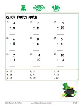 St Patrick's Day Themed Math Addition Worksheets- Grade 1