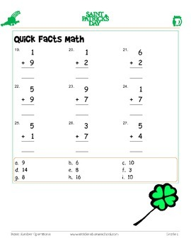 St Patrick's Day Themed Math Worksheets-222 Basic Operations Grades 0-1
