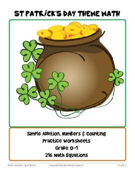 St Patrick's Day Themed Math Worksheets-222 Basic Operatio