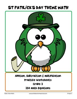 St Patrick's Day Themed Math Worksheets- Grade 3