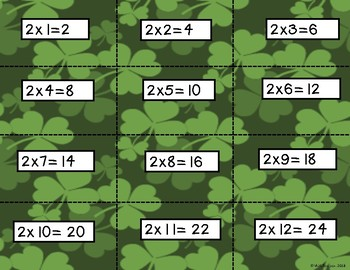St. Patricks Day Themed Multiplication Fluency Practice