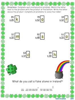 St. Patrick's Day Themed Multiplication Puzzle (2-digit by 2-digit)