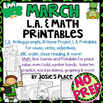 NO PREP  MARCH  LANGUAGE ARTS & MATH PRINTABLES, PROJECT & MORE!