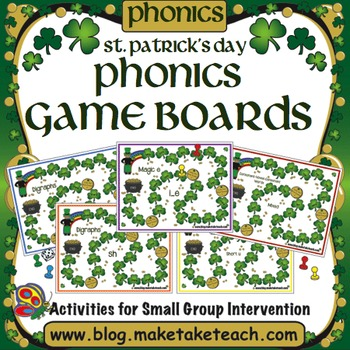 St. Patrick's Day Themed Phonics Game Boards