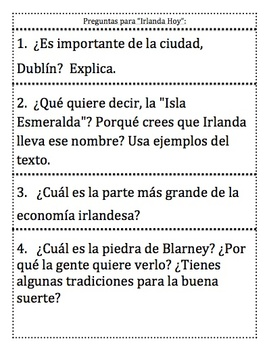 St. Patrick's Day Themed Spanish Informational Text Reading Comprehension