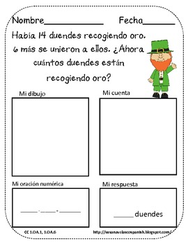 St. Patricks Day Themed Spanish Word Problems