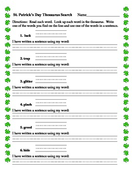 St. Patrick's Day Thesaurus printable